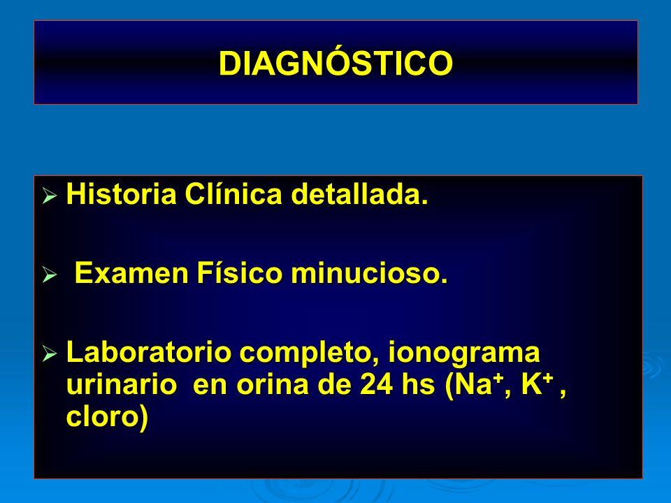 DIAGNÓSTICO Historia Clínica detallada. Examen Físico minucioso.