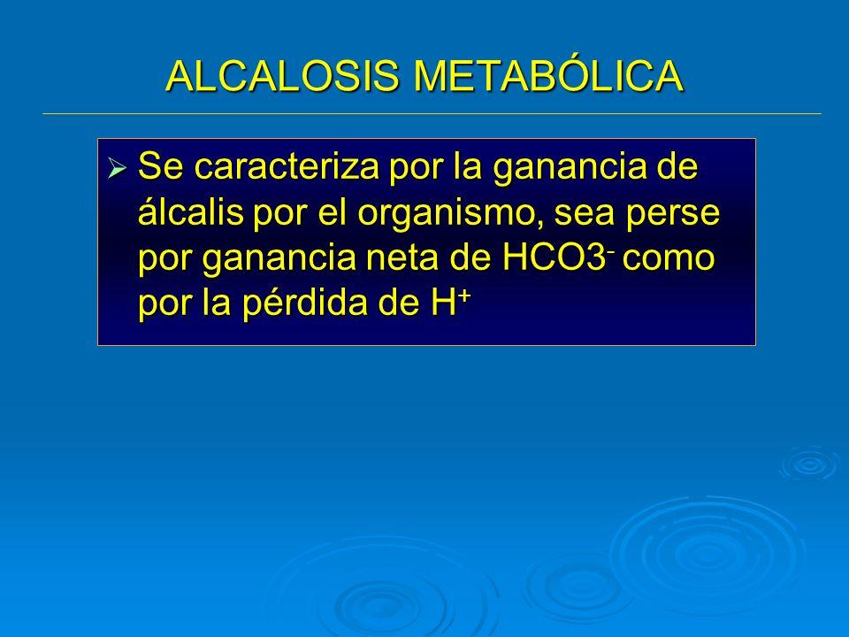 ALCALOSIS METABÓLICASe caracteriza por la ganancia de álcalis por el organismo, sea perse por ganancia neta de HCO3- como por la pérdida de H+