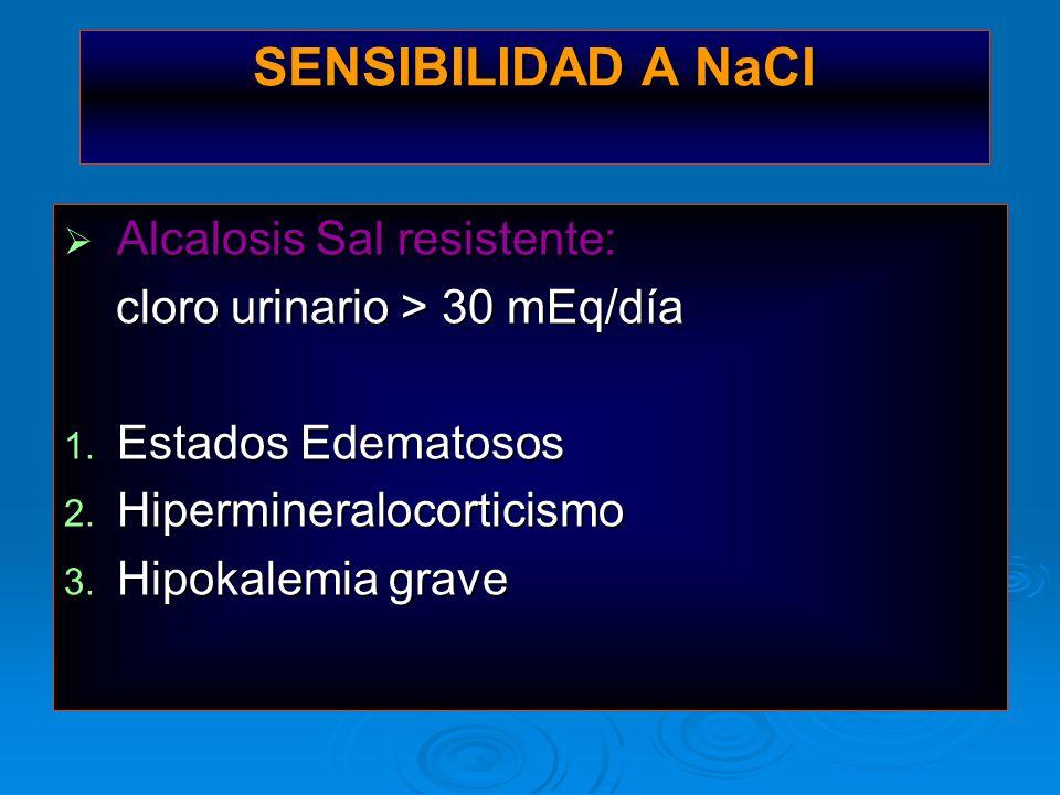 SENSIBILIDAD A NaCl Alcalosis Sal resistente: