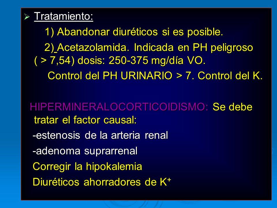 Tratamiento:1) Abandonar diuréticos si es posible. 2) Acetazolamida. Indicada en PH peligroso ( > 7,54) dosis: 250-375 mg/día VO.