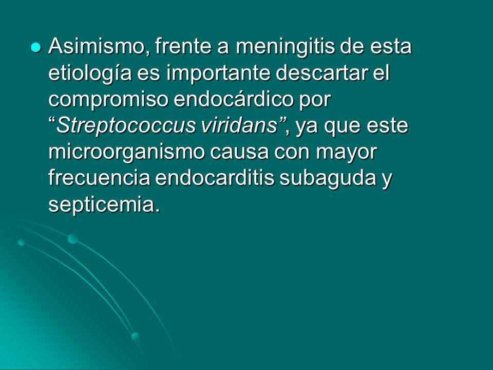 Asimismo, frente a meningitis de esta etiología es importante descartar el compromiso endocárdico por Streptococcus viridans , ya que este microorganismo causa con mayor frecuencia endocarditis subaguda y septicemia.