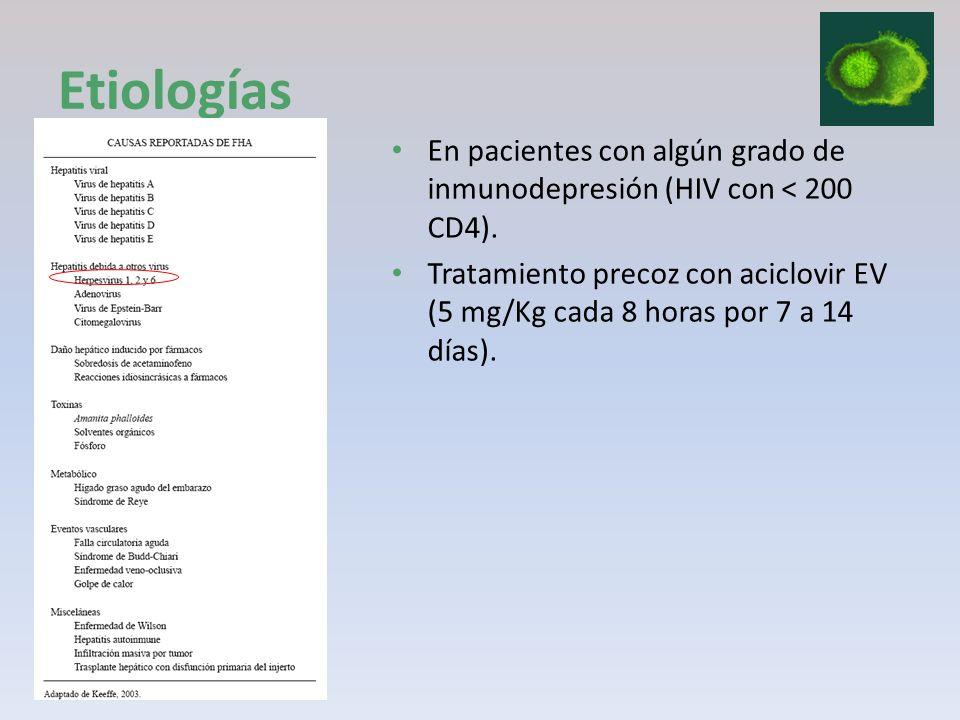EtiologíasEn pacientes con algún grado de inmunodepresión (HIV con < 200 CD4).