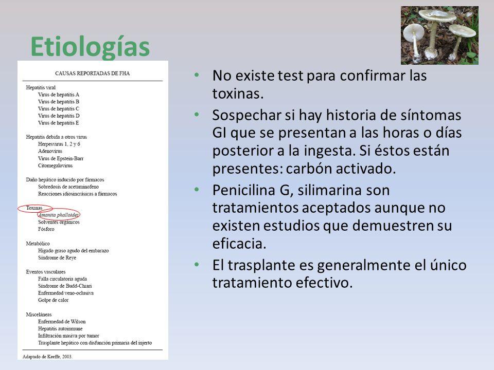 Etiologías No existe test para confirmar las toxinas.