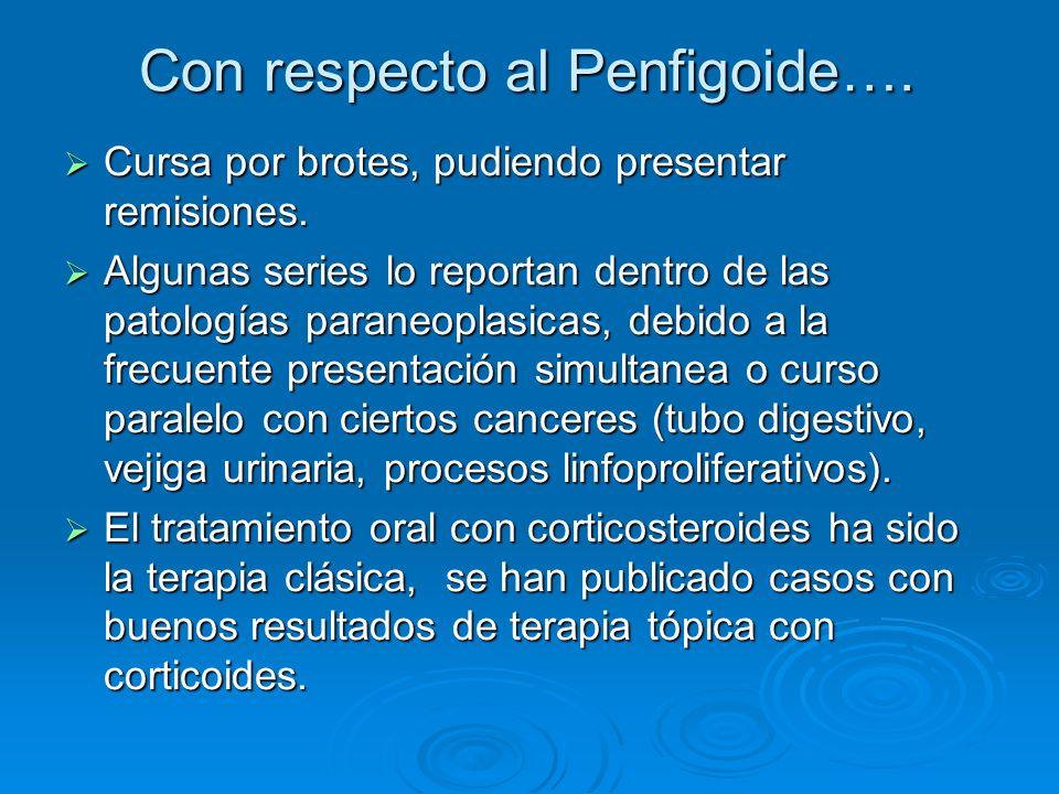 Con respecto al Penfigoide….