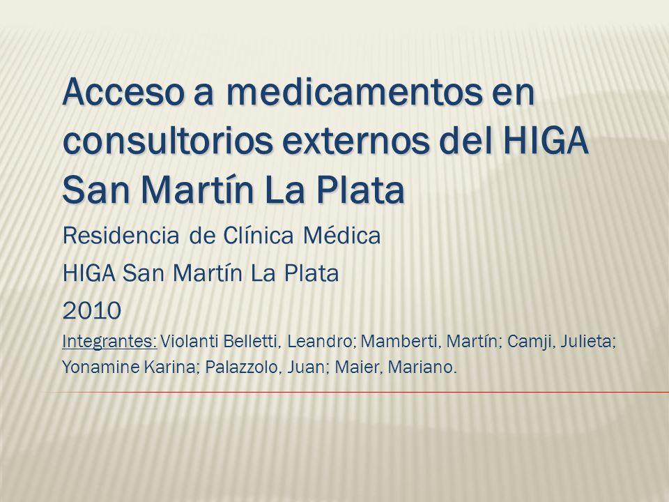 Acceso a medicamentos en consultorios externos del HIGA San Martín La Plata