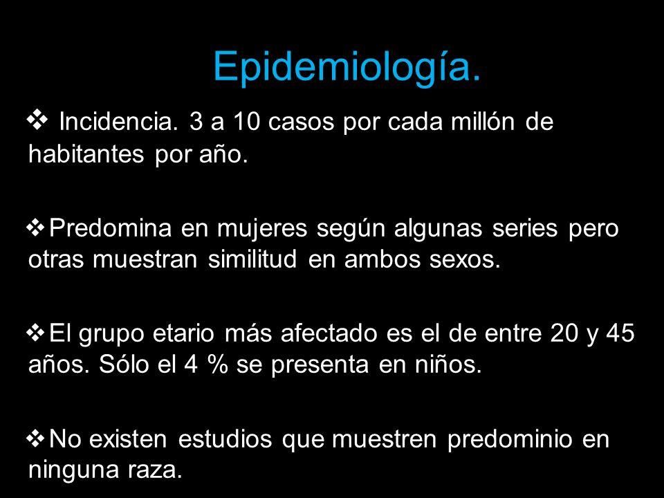 Epidemiología. Incidencia. 3 a 10 casos por cada millón de habitantes por año.
