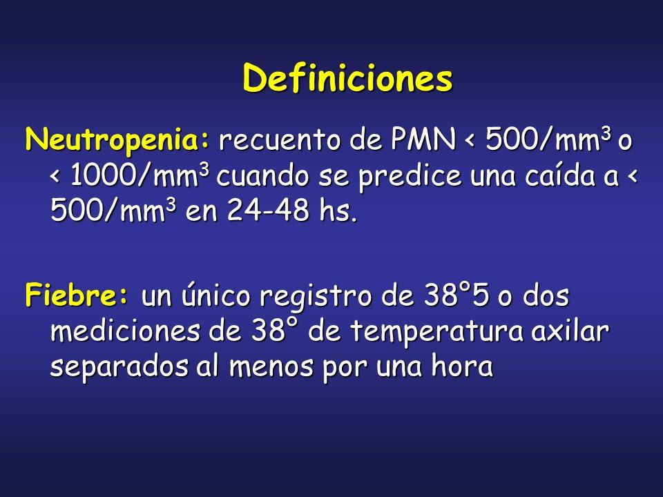 Definiciones Neutropenia: recuento de PMN < 500/mm3 o < 1000/mm3 cuando se predice una caída a < 500/mm3 en 24-48 hs.