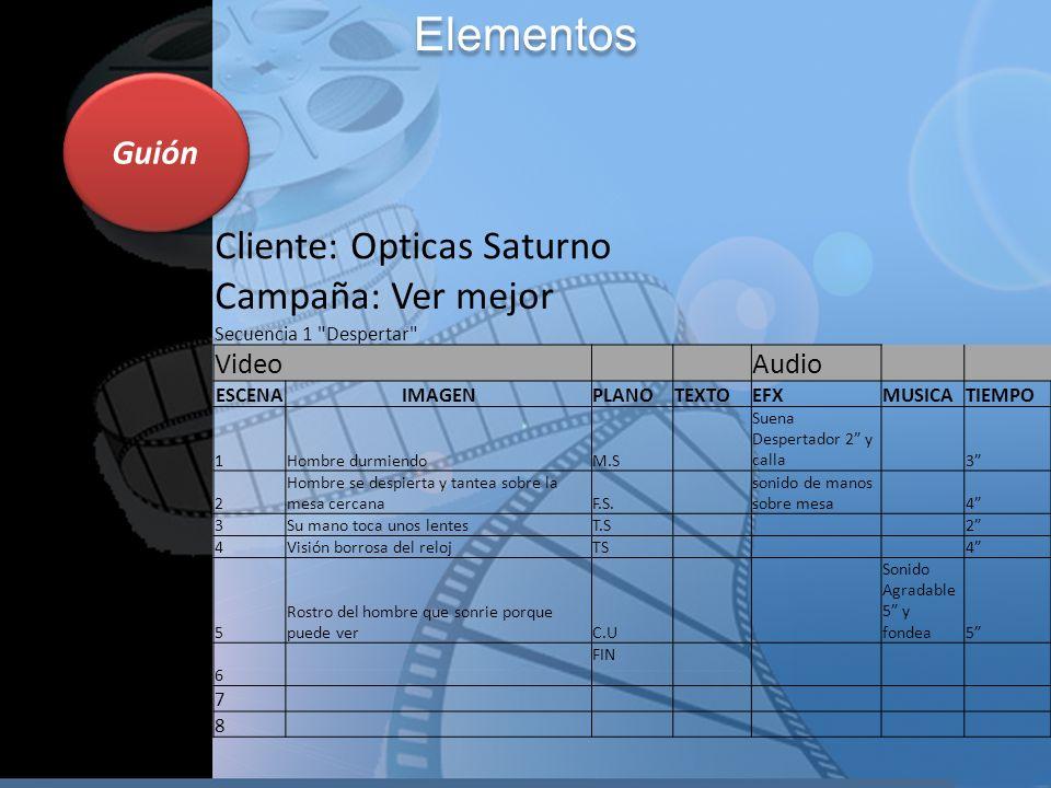 Elementos Cliente: Opticas Saturno Campaña: Ver mejor Guión Video