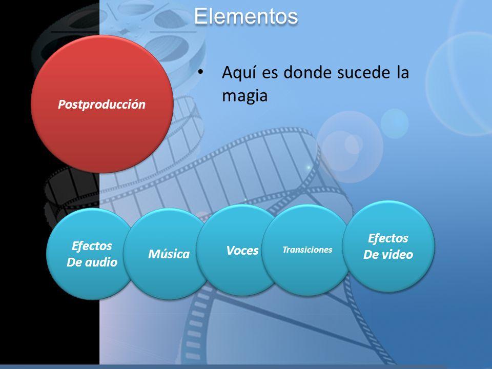 Elementos Aquí es donde sucede la magia Postproducción Efectos Efectos