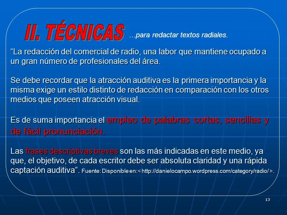 II. TÉCNICAS…para redactar textos radiales.