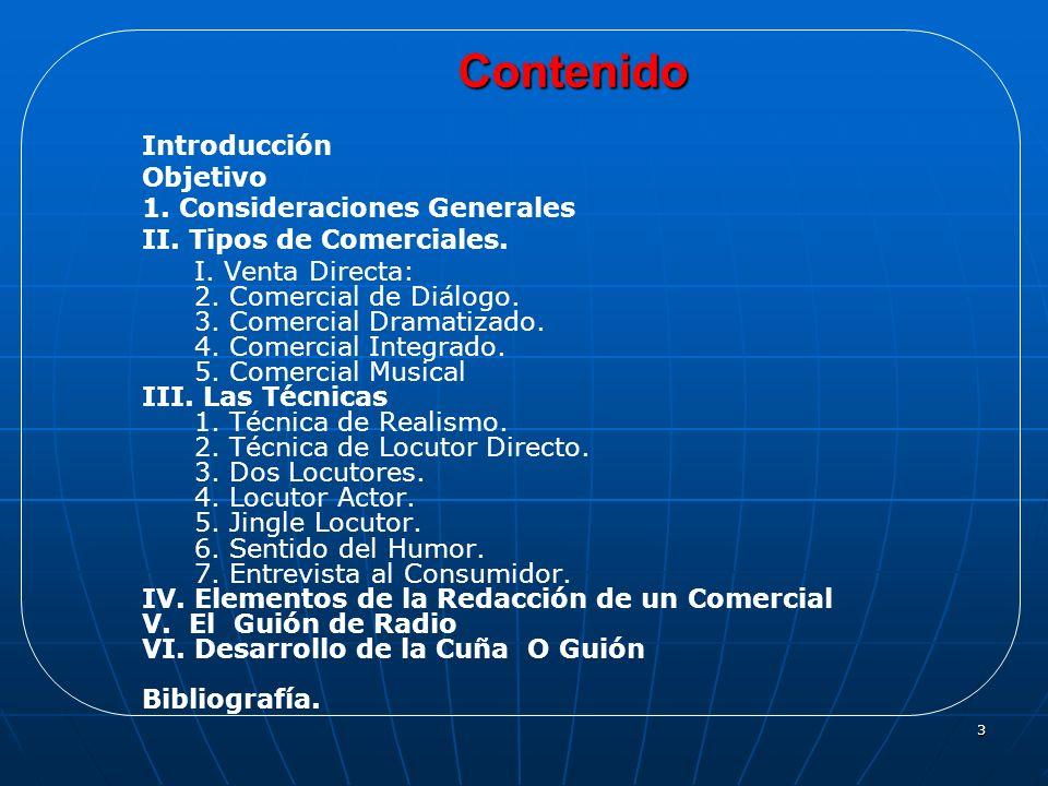 Contenido Introducción Objetivo 1. Consideraciones Generales