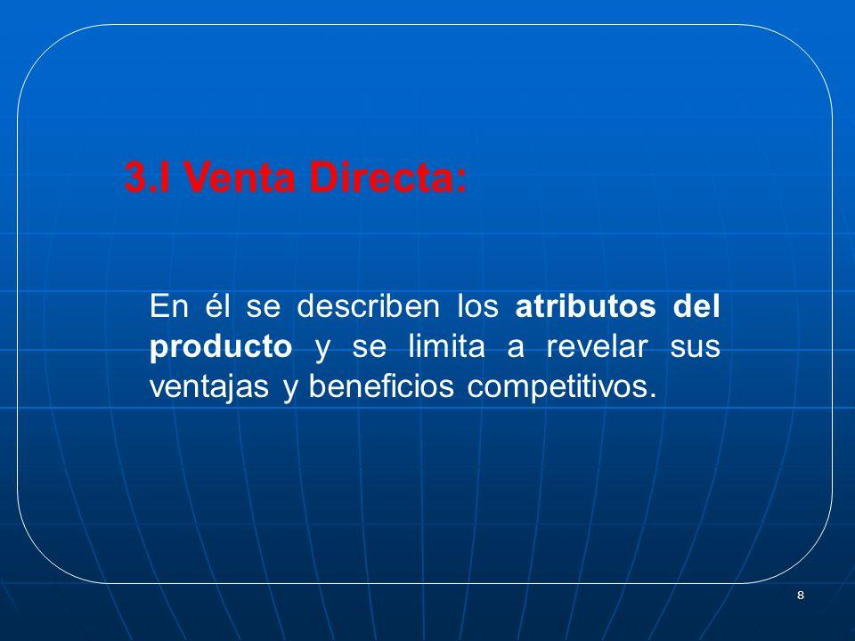 3.I Venta Directa:En él se describen los atributos del producto y se limita a revelar sus ventajas y beneficios competitivos.