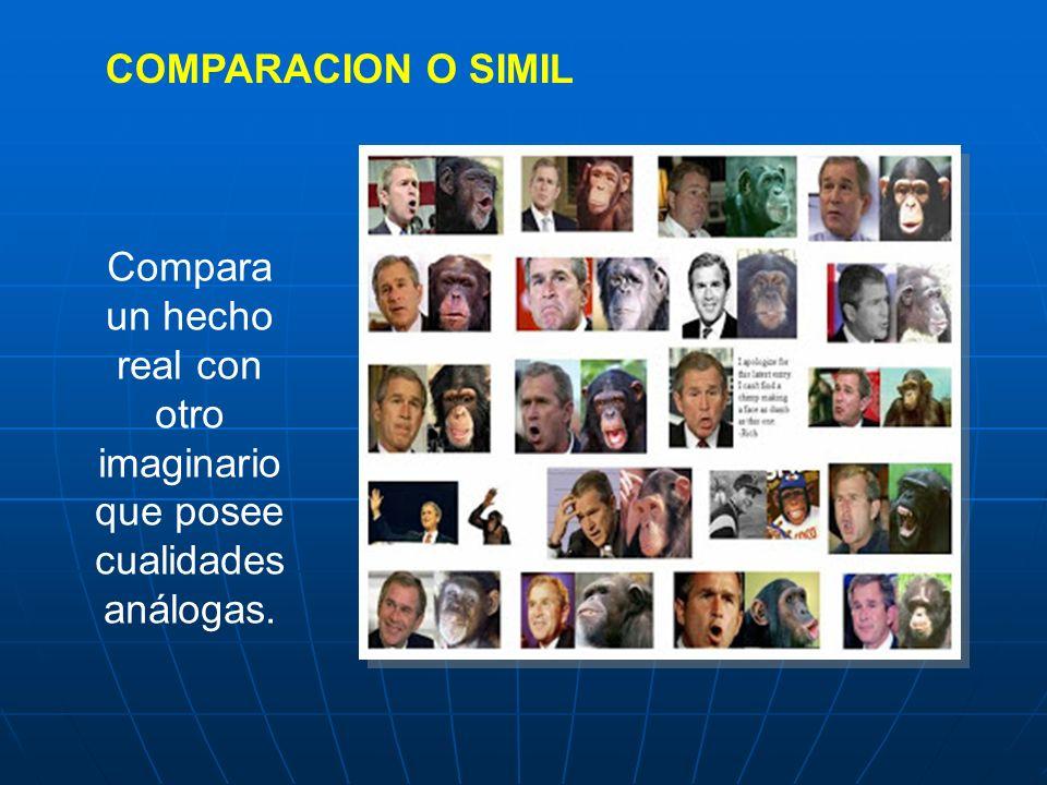 COMPARACION O SIMIL Compara un hecho real con otro imaginario que posee cualidades análogas.