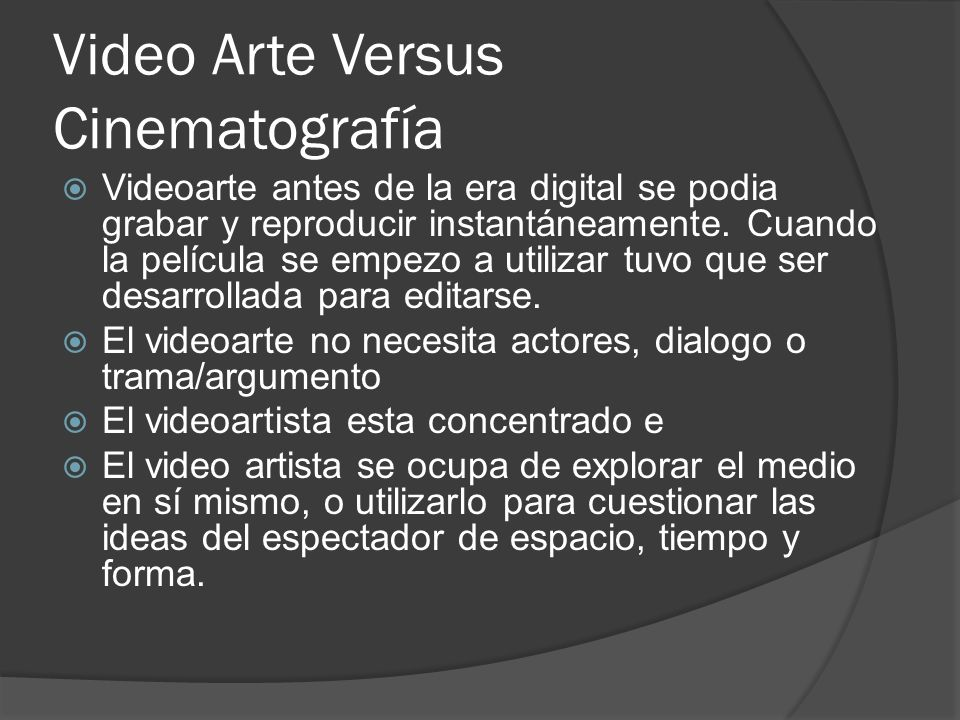 Video Arte Versus Cinematografía