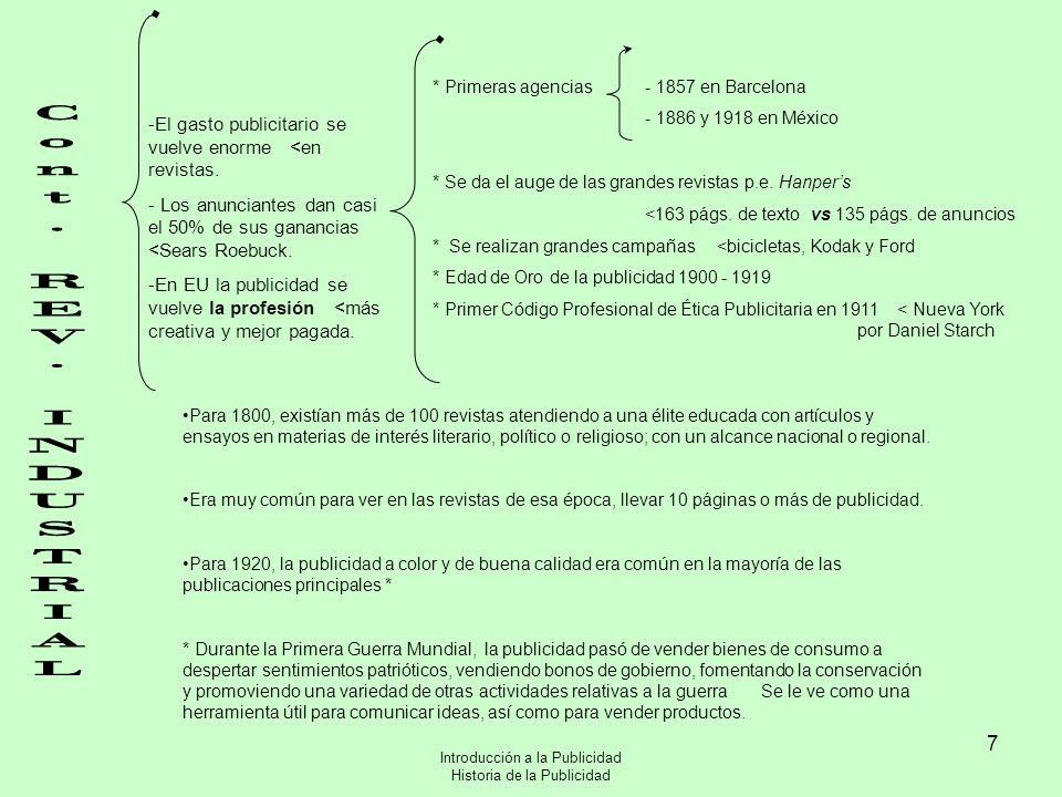 * Primeras agencias - 1857 en Barcelona