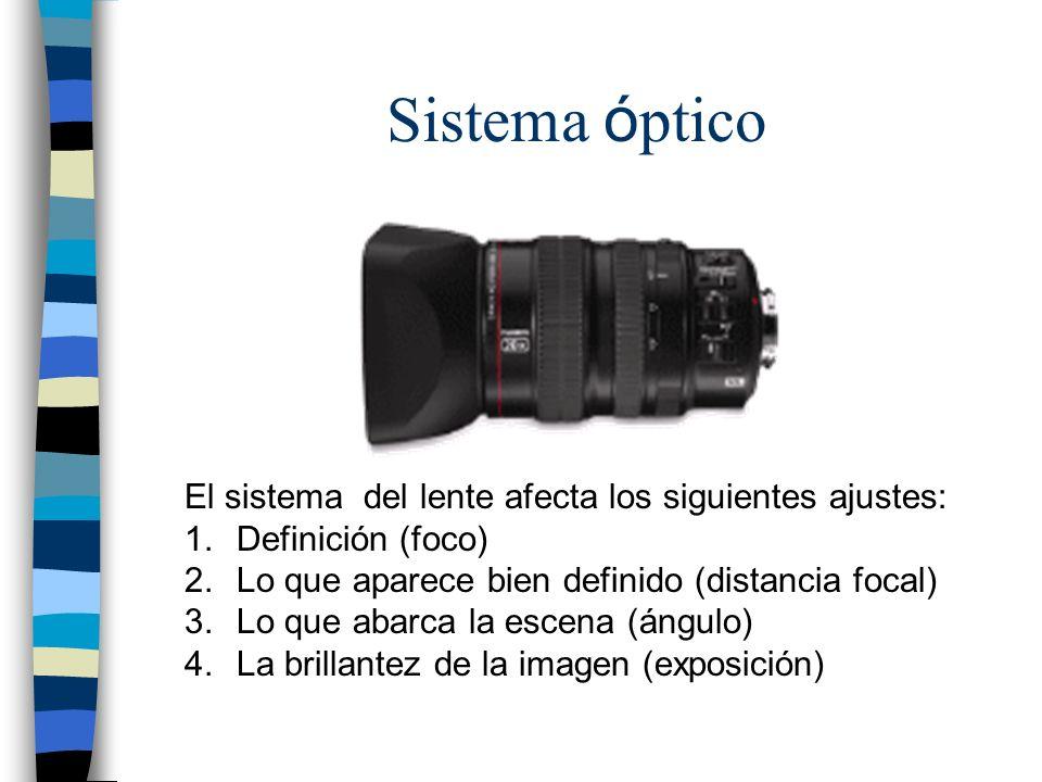 Sistema óptico El sistema del lente afecta los siguientes ajustes: