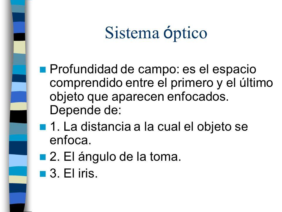 Sistema óptico Profundidad de campo: es el espacio comprendido entre el primero y el último objeto que aparecen enfocados. Depende de: