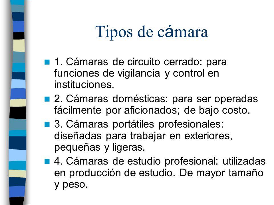 Tipos de cámara 1. Cámaras de circuito cerrado: para funciones de vigilancia y control en instituciones.