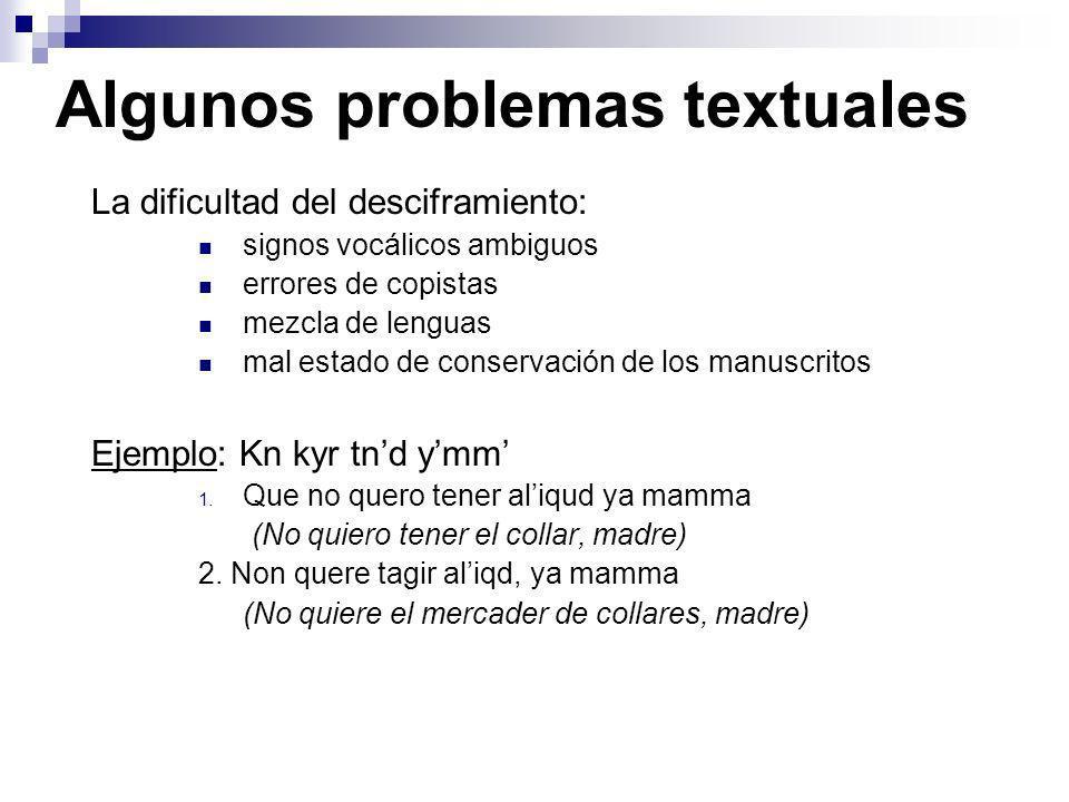Algunos problemas textuales