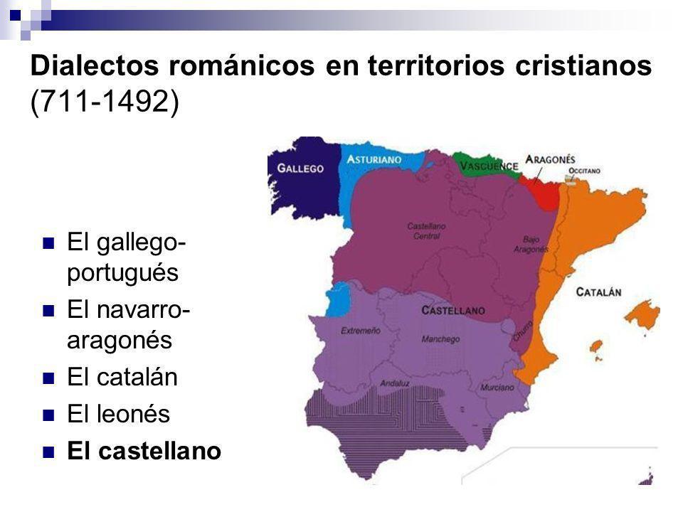 Dialectos románicos en territorios cristianos (711-1492)
