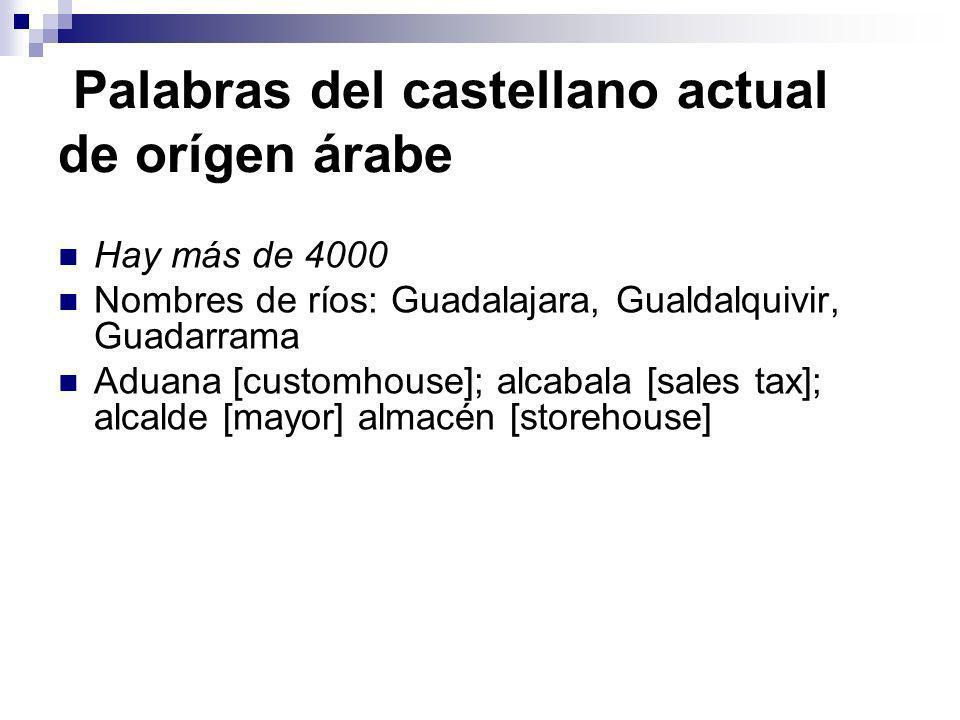 Palabras del castellano actual de orígen árabe