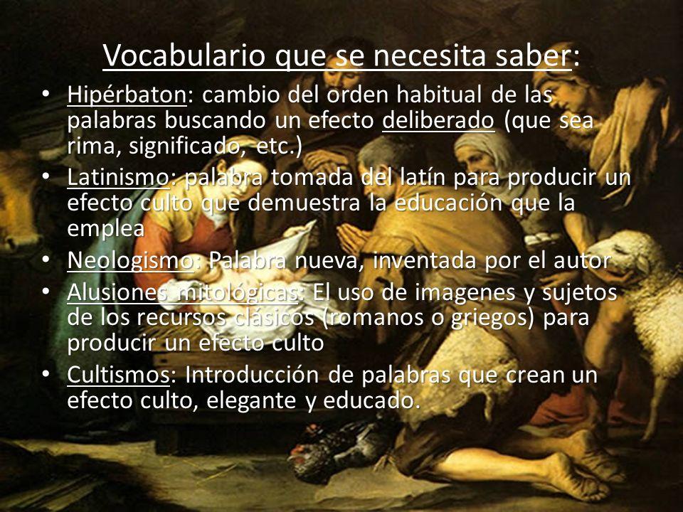Vocabulario que se necesita saber: