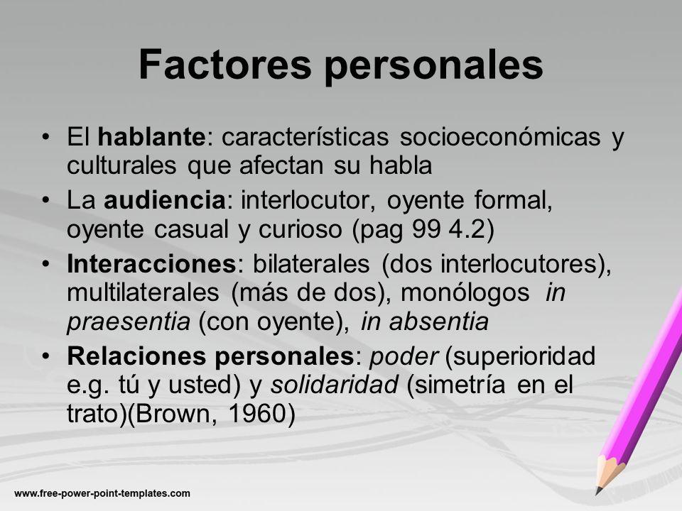 Factores personales El hablante: características socioeconómicas y culturales que afectan su habla.