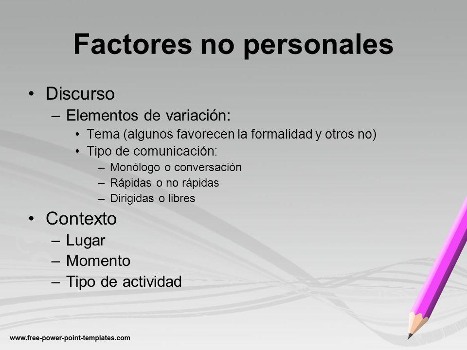 Factores no personales