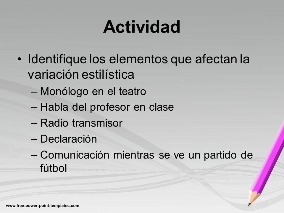Actividad Identifique los elementos que afectan la variación estilística. Monólogo en el teatro. Habla del profesor en clase.