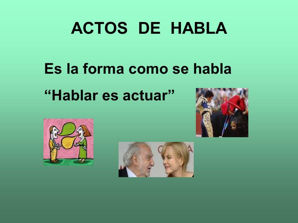 ACTOS DE HABLA Es la forma como se habla Hablar es actuar