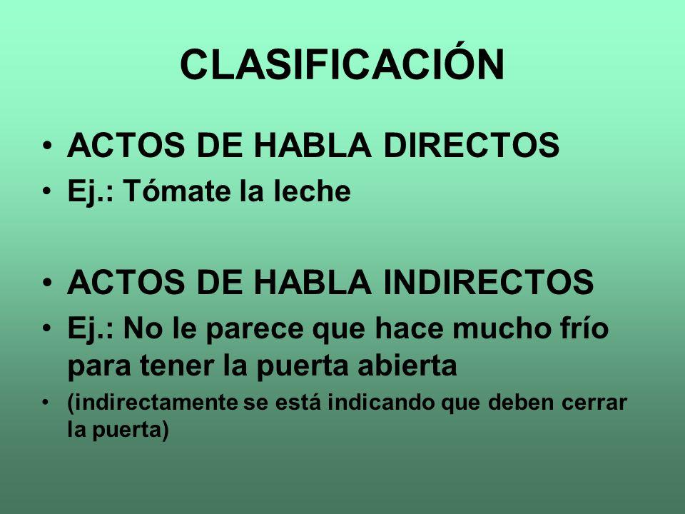 CLASIFICACIÓN ACTOS DE HABLA DIRECTOS ACTOS DE HABLA INDIRECTOS