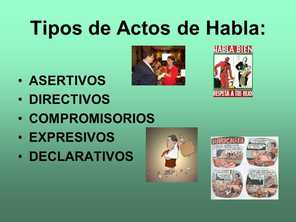 Tipos de Actos de Habla: