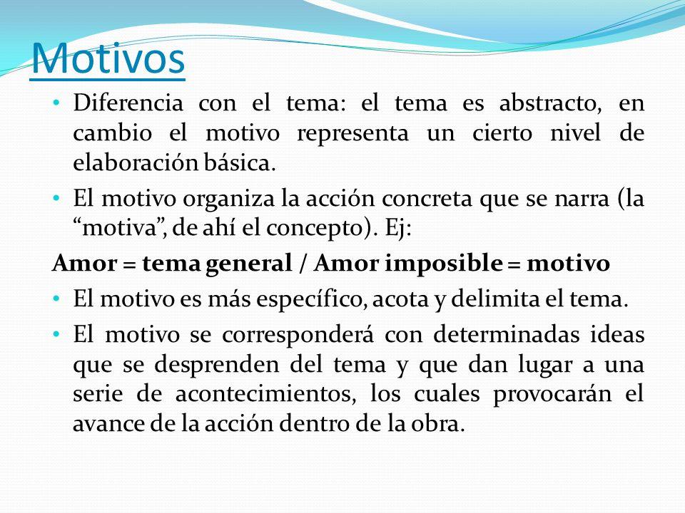 Motivos Diferencia con el tema: el tema es abstracto, en cambio el motivo representa un cierto nivel de elaboración básica.