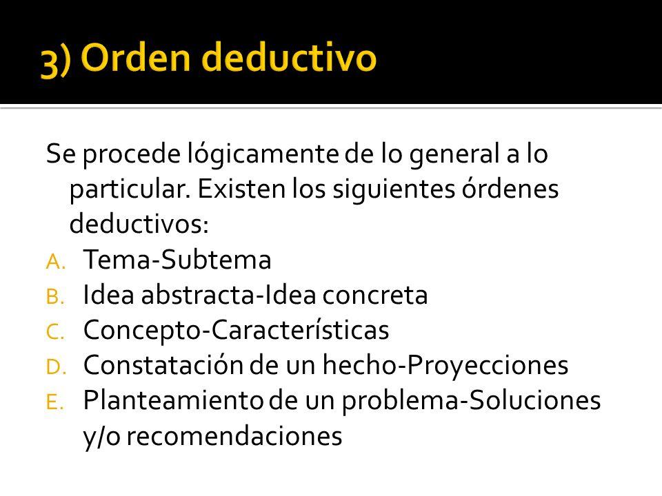 3) Orden deductivo Se procede lógicamente de lo general a lo particular. Existen los siguientes órdenes deductivos: