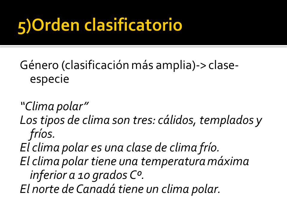 5)Orden clasificatorio