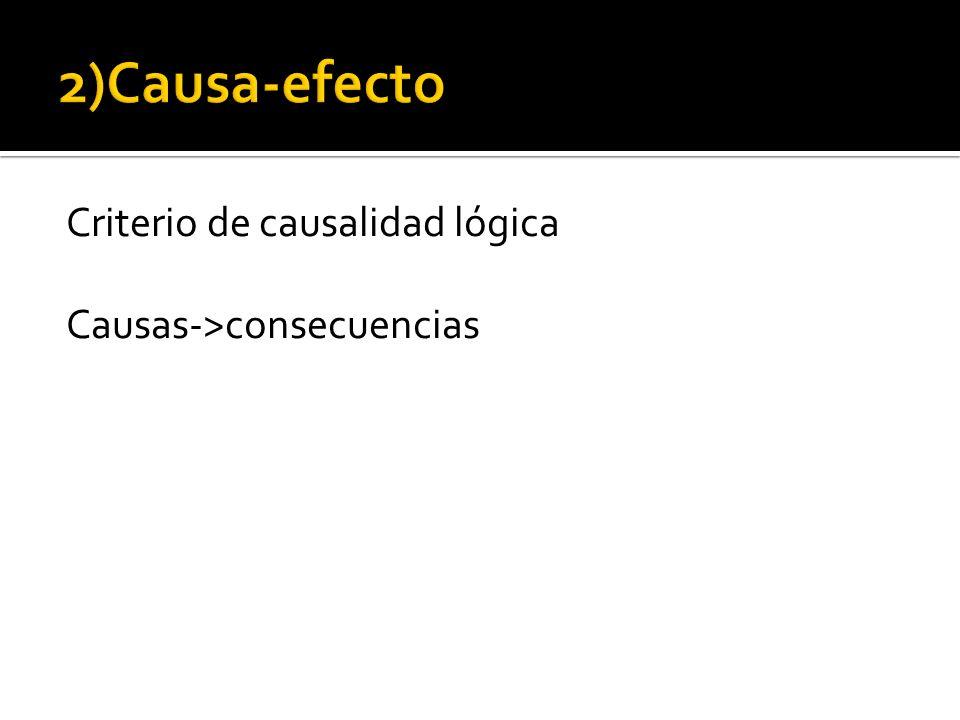 2)Causa-efecto Criterio de causalidad lógica Causas->consecuencias