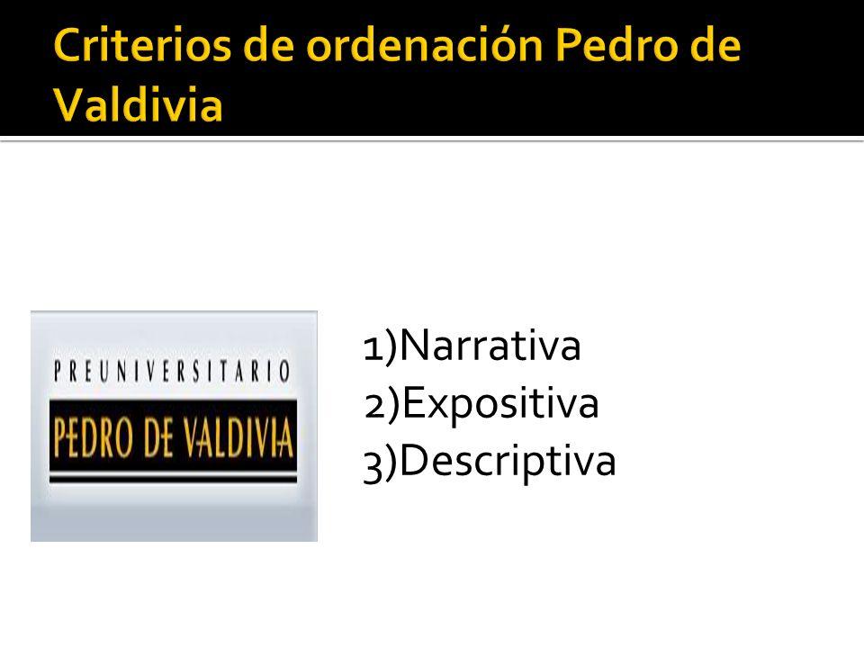 Criterios de ordenación Pedro de Valdivia