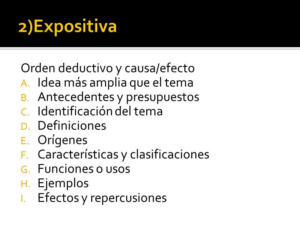 2)Expositiva Orden deductivo y causa/efecto