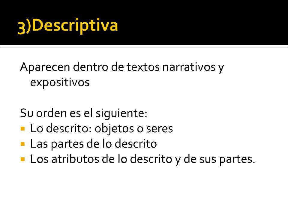 3)Descriptiva Aparecen dentro de textos narrativos y expositivos