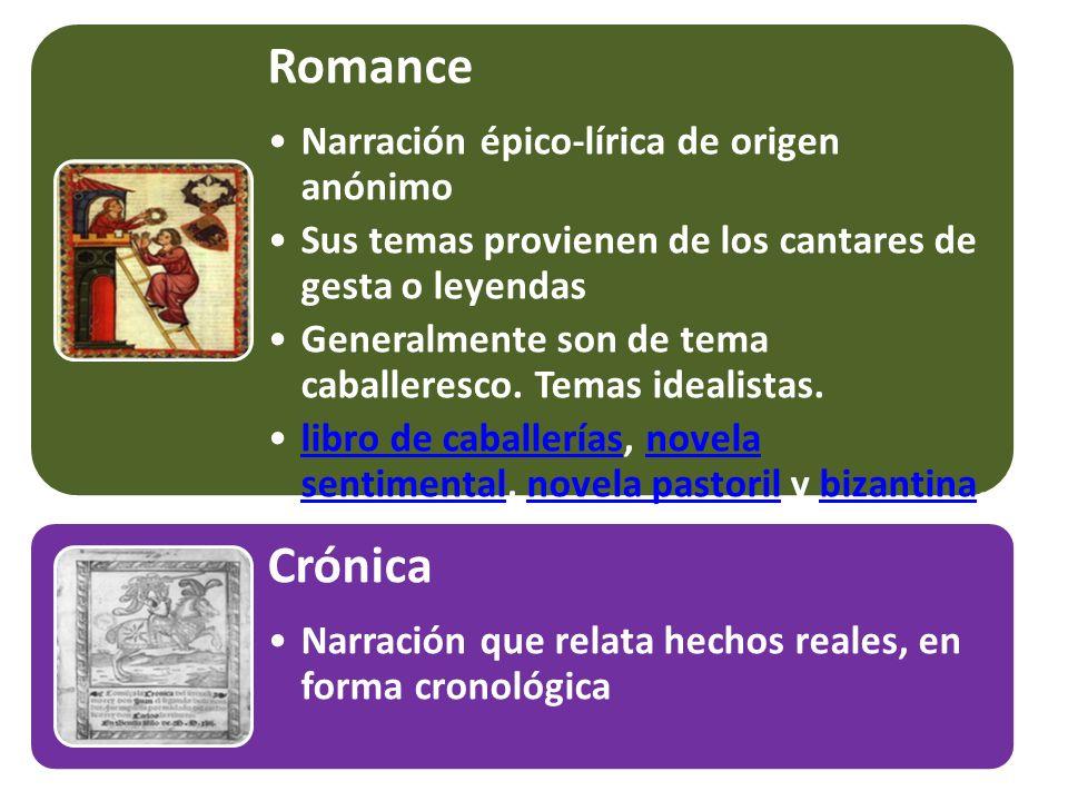 Romance Crónica Narración épico-lírica de origen anónimo