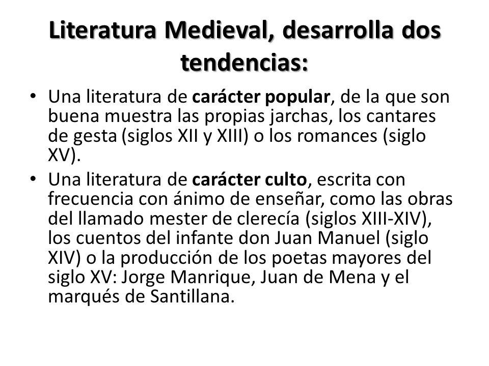 Literatura Medieval, desarrolla dos tendencias: