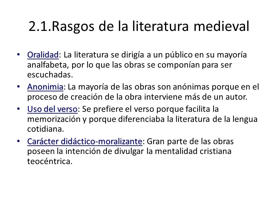 2.1.Rasgos de la literatura medieval