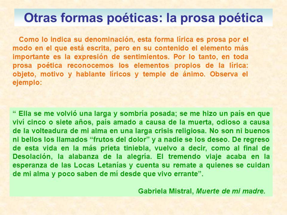 Otras formas poéticas: la prosa poética