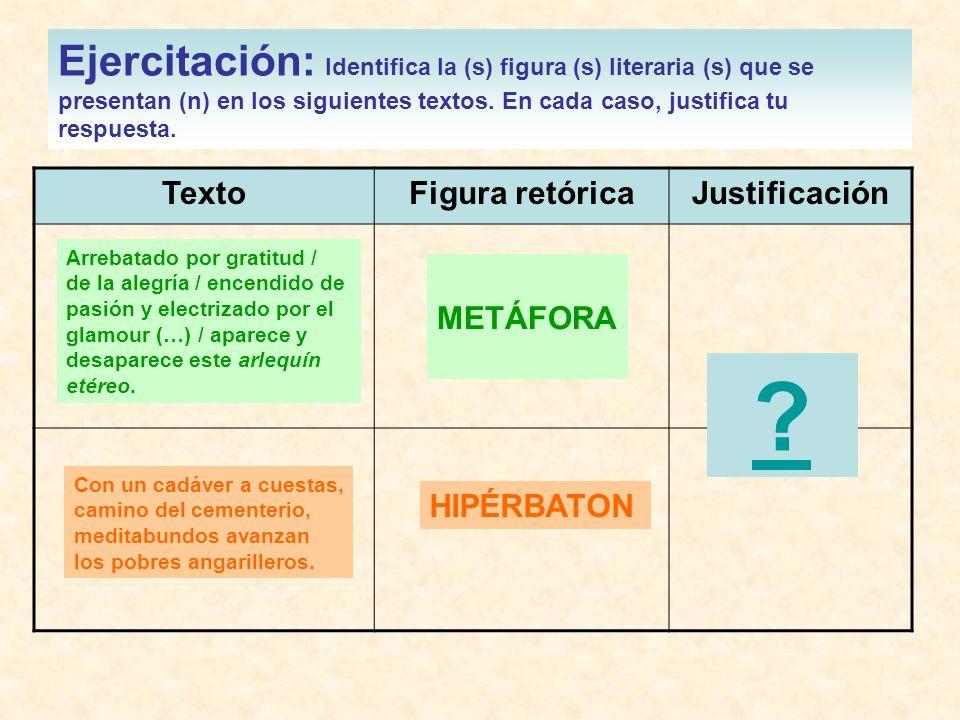 Ejercitación: Identifica la (s) figura (s) literaria (s) que se presentan (n) en los siguientes textos. En cada caso, justifica tu respuesta.