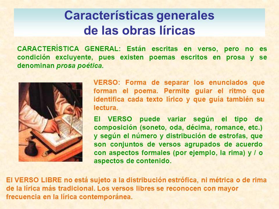 Características generales de las obras líricas