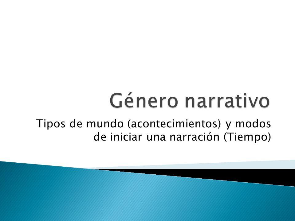 Género narrativo Tipos de mundo (acontecimientos) y modos de iniciar una narración (Tiempo)