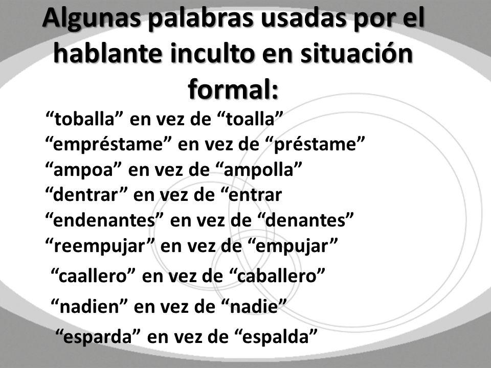 Algunas palabras usadas por el hablante inculto en situación formal: