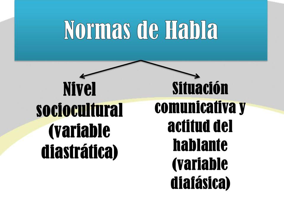 (variable diastrática) Situación comunicativa y actitud del hablante