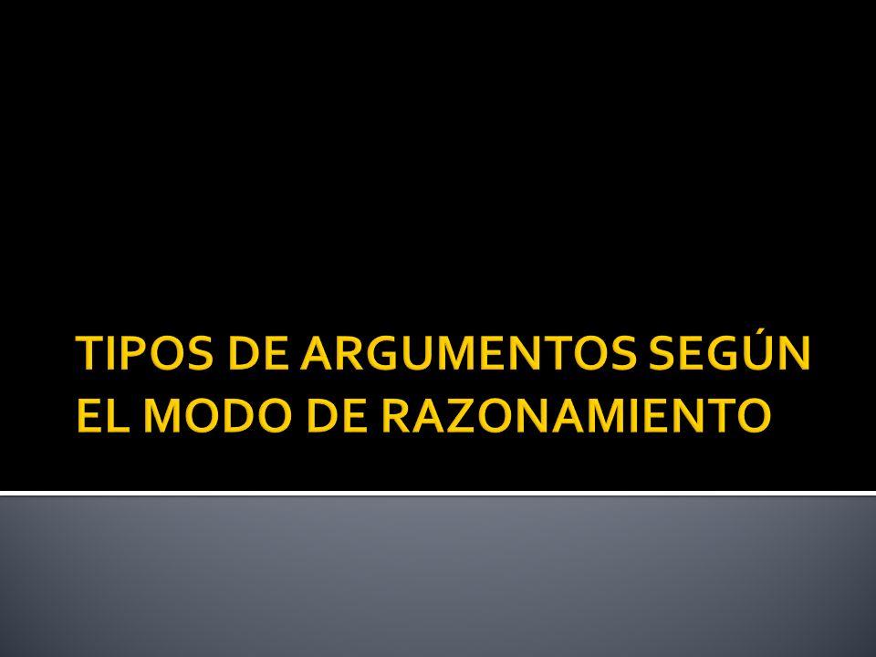 TIPOS DE ARGUMENTOS SEGÚN EL MODO DE RAZONAMIENTO
