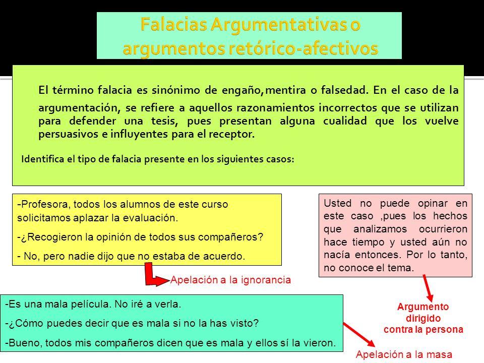 Falacias Argumentativas o argumentos retórico-afectivos